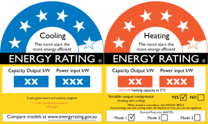An example of Energy Rating Label you can come across while purchasing reverse cycle system